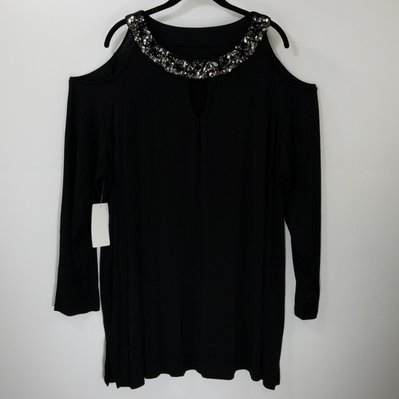 f1bca2e0350db Roaman's Tops | Nwt Roamans Black Beaded Neck Cold Shoulder Top ...